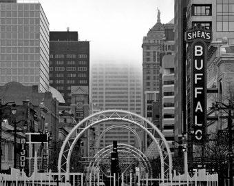 Downtown Buffalo Photography Print, Buffalo NY Art Print, Black and White Photography, Wall Art