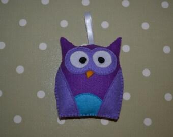 Cute handmade felt owls, purple and turquoise