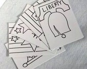 Fun for kids: Coloring Patriotic cards (blank, set of 5, with envelopes)