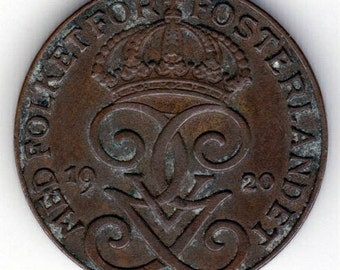 Coin Connoisseur - Antique 1 ore coin from Sweden - Celtic crowned monogram design - KM777.2 - circulated
