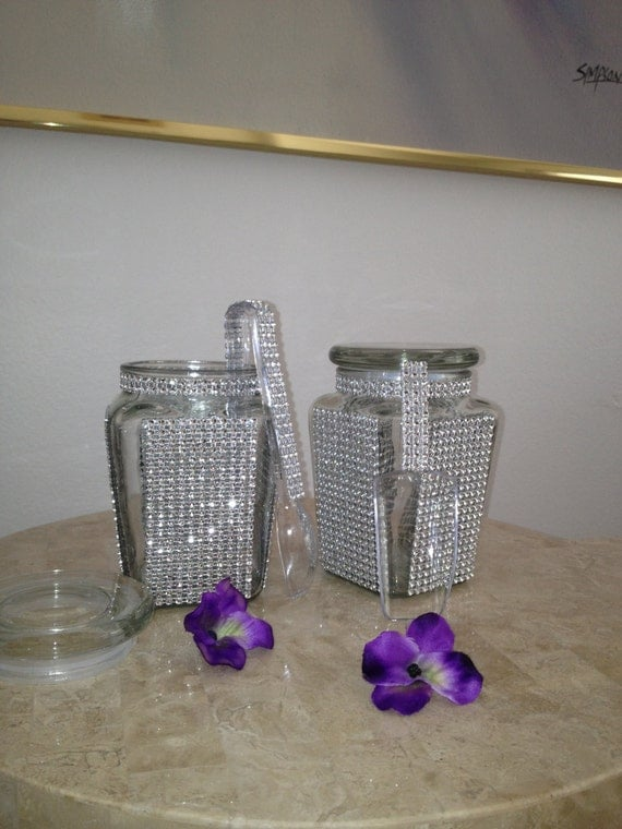 items similar to two 21 oz bling apothecary glass candy jars with