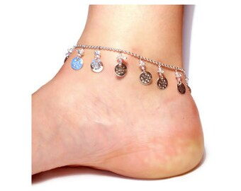 Beautiful set of anklets. Two beaded anklets with coins.