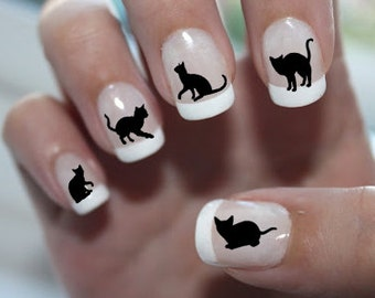 Free Shipping - 51 BLACK CATS (BC2) Familiar Symbols Nail Art Water Slide Transfers Cat Lovers Nail Stickers Wraps