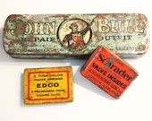 Vintage 1930s English John Bull Bicycle Repair Outfit Kit, plus 2 gorgeous vintage tyre valve sets in Tin - TheVintageRaisin