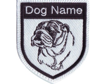 Bulldog Dog Name Embroidered Sew On Patch