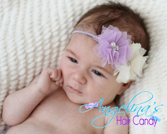 Lavender and White Headband,Photo Prop, Purple Newborn headband, infant headband