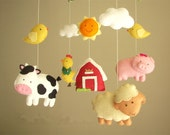"""Baby crib mobile, safari mobile, animal mobile """"Barnyard"""" - Lamb, Pig, Hen, Cow, chicks"""