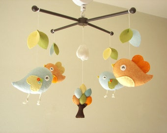 "Baby crib mobile, Bird mobile, felt mobile, nursery mobile, baby mobile,""Bird - migi little tree 2"""
