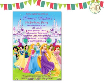 Disney Princess Invitation, Disney Castle Birthday Party, Princess Invitation, Princess Birthday Party