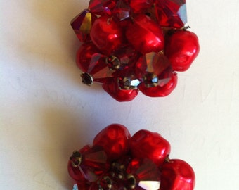 Red glass aurora borealis clip on earrings marked Japan