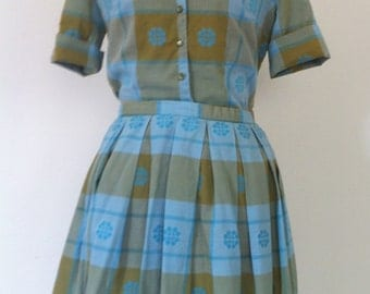 1960s blouse and skirt set. Beautiful blue and green plaid skirt is a size extra small but the top is a size 8