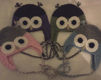 Crochet Owl Hat - Child, Teen & Adult Sizes (NOW IN 15 COLORS)