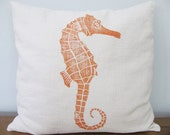 Pillow Cover SEAHORSE (18 x 18 inch)  color: orange on ivory linen blend fabric