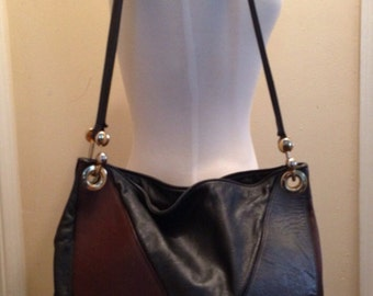 Vintage Metallic Three Toned Retro Bucket Hobo
