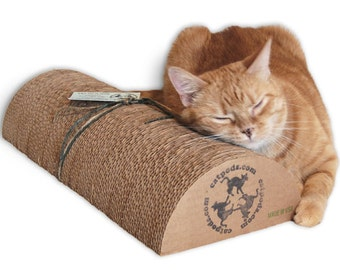"""XL Kitty Speed Bump 18"""" - Eco-friendly trendy cardboard cat scratcher pillow pet bed furniture unique great gift for pets"""