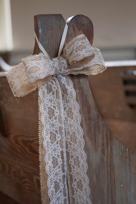 Items similar to burlap and lace pew bows 12 bows on etsy - Bow decorations for weddings ...