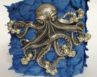 Antique Silver Octopus on Blue Suede Fish Leather Cuff Bracelet