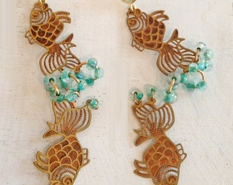 Fish Blowing Bubbles Earrings - Vintage Die Cut Fish Brass/Copper/Patina - Turquoise Glass Beads- Mint Glass Earring Posts