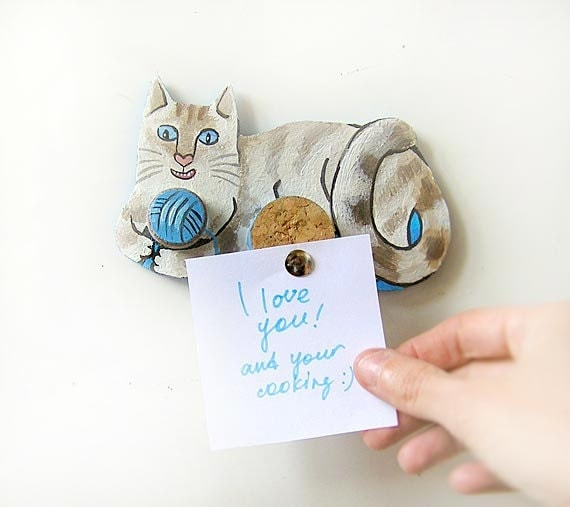 Playing Cat Magnet Home Decor Kitchen Decor Mini By Kapussta