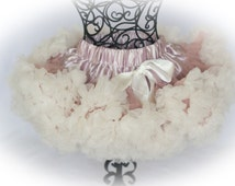 SALE! Baby Girls ruffle PREMIUM Vintage Pink Cream pettiskirt tutu skirt dress petticoat twins photo prop Newborn size 6-12 6-9 12-24 months