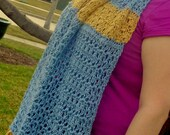 Hand Crochet Blue and Gold Lace Scarf, Winter Fashion and Trends