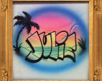 Sunset in Block Letters airbrush t-shirt