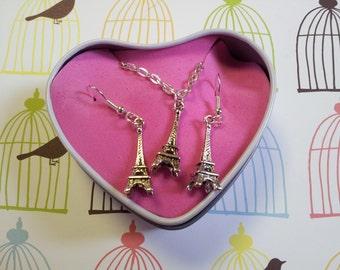 Eiffel Tower Necklace & Earring Set