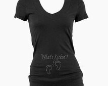 Custom Whats Kicking Vneck Shirt. Custom Mommy to Be Shirt . Custom Maternity Shirt. Custom Soon To Be Mom .