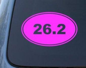 "26.2 Marathon Runner Euro Oval 5"" Vinyl Decal Widow Sticker for Car, Truck, Motorcycle, Laptop, Ipad, Window, Wall, ETC"