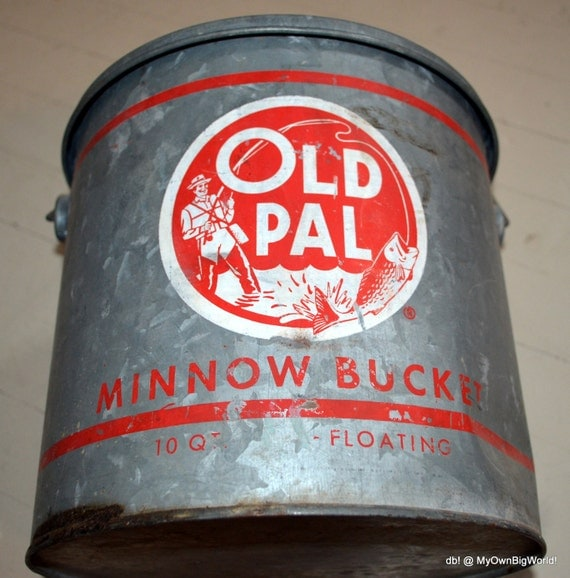 Vintage Minnow Bucket Metal Old Pal Old Bait Bucket Red Bucket Metal ...