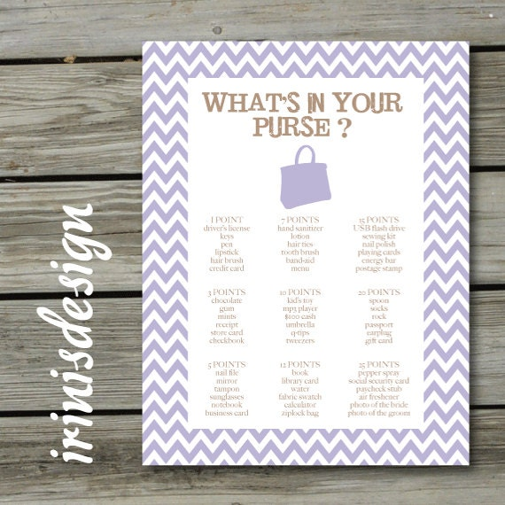 Items similar to bridal shower game what s in your purse print at