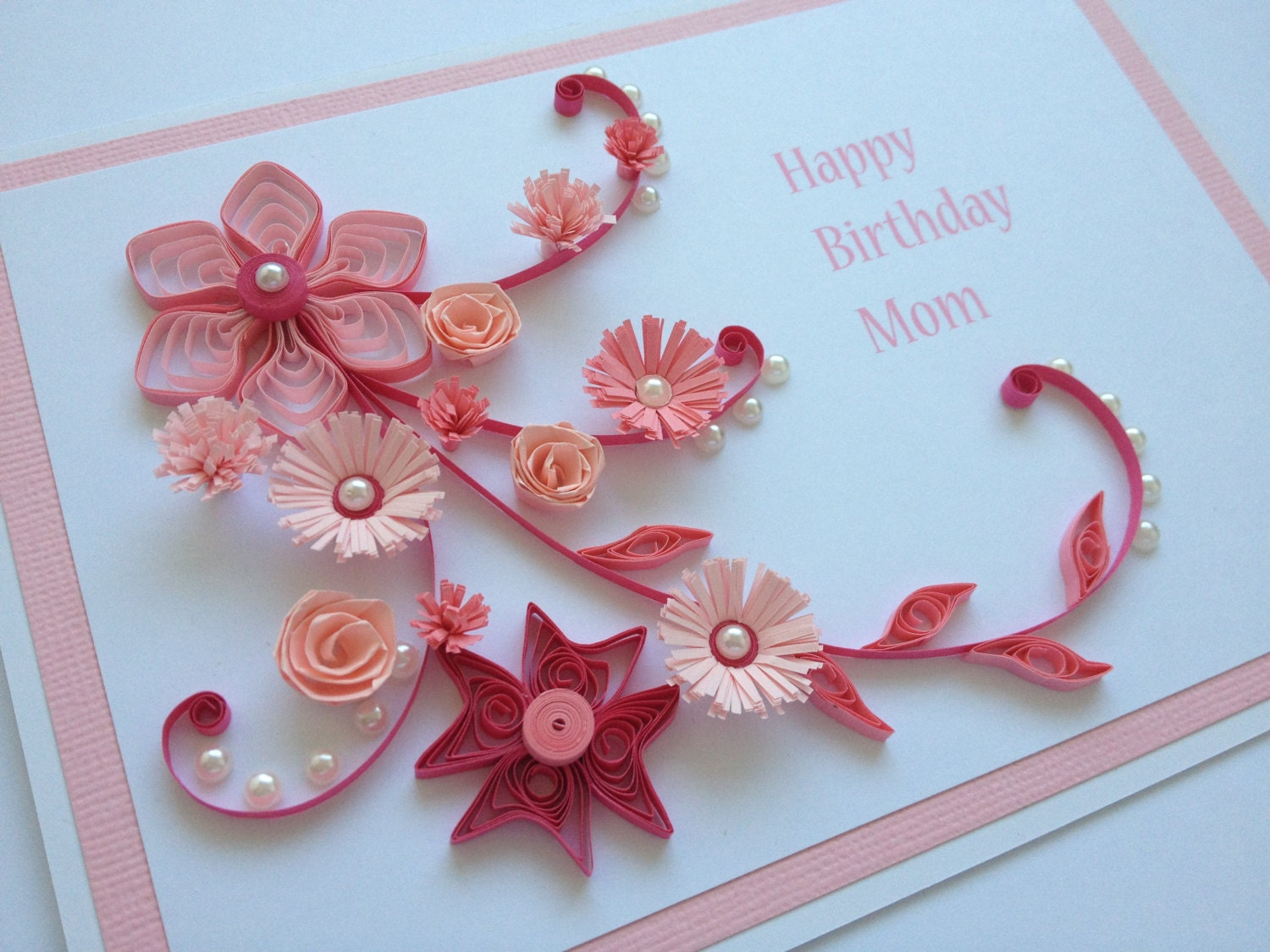 items similar to pink handmade quilled paper birthday card