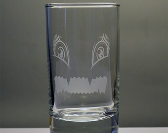 Kids Cute Monster Personalized Etched Juice Glass
