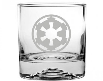 Star Wars Imperials Etched Rocks Glass Personalized
