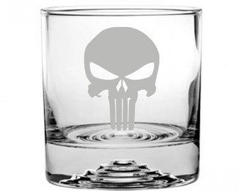 The Punisher Etched Rocks Glass Personalized