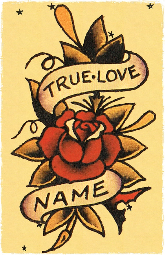 11 x 17 true love banner wrapped around roses sailor jerry for True love tattoos