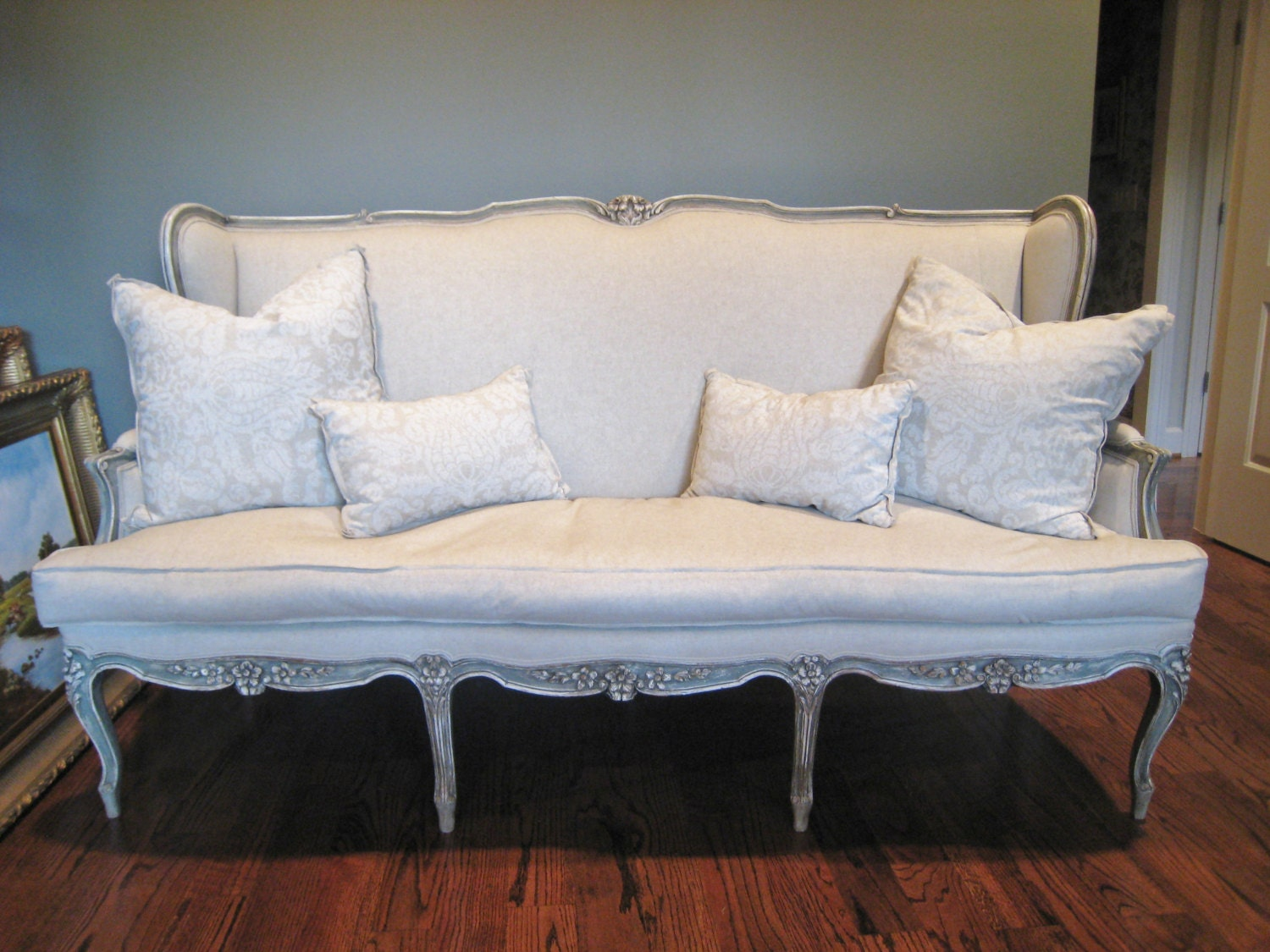 shabby chic antique louis xv french style sofa by shurlydesigns. Black Bedroom Furniture Sets. Home Design Ideas
