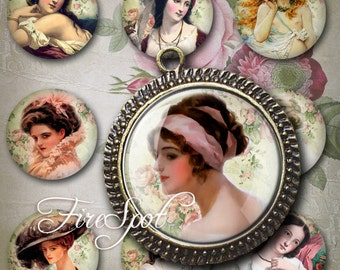 Vintage Painting -Digital Collage Sheet 1.25 inch,30 mm,1 inch,25 mm.20 mm round Vintage ladies printable images.Glass Pendants,Scrapbooking