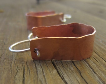 Wide Copper Hoop Earrings, Hammered Copper Earrings, Horseshoe Earrings
