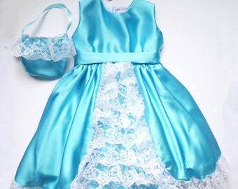 Turquoise Blue Satin Bridesmaid Dress ( Only 1 left, size 1 - 2 yrs )
