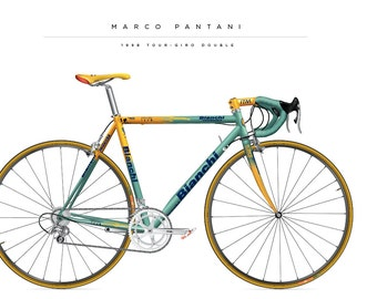 Bike poster of  the Marco Pantani Bianchi from 1998