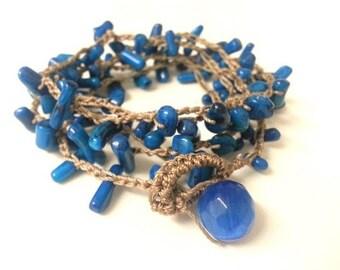 Crochet wrap bracelet, necklace