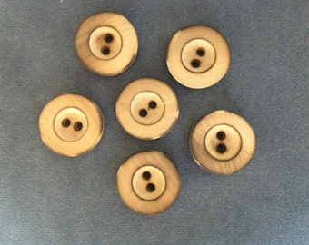 """Wood buttons. Wood buttons w/ rim 2-hole 7/8"""" (23mm). Set of 6"""