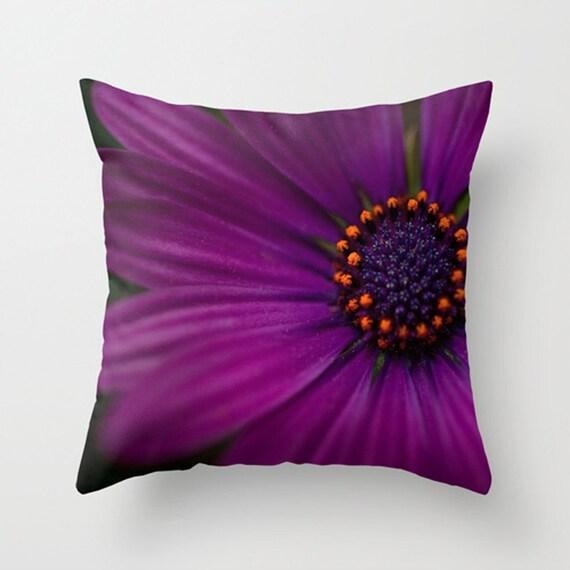 Purple Decorative Pillow Covers : Decorative Flower Pillow Cover Purple Pillow by HappyPillowShop