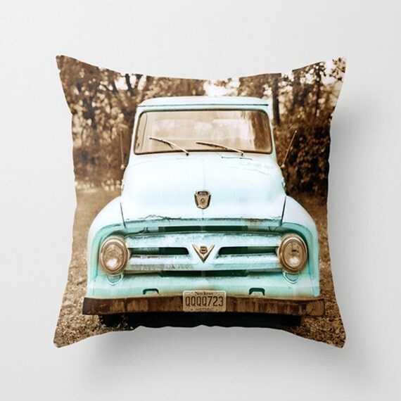 Teal Truck Decorative Pillow Cover Vintage Turquoise Decor