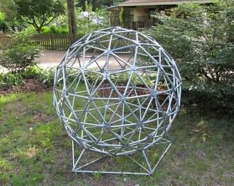 Geodesic Sphere Sculpture, Metal Yard Art, Over 4 ft High