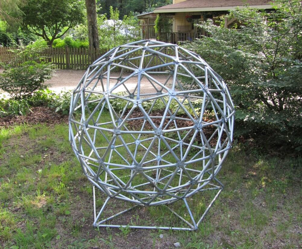 Geodesic Sphere Sculpture Metal Yard Art Over 4 Ft High