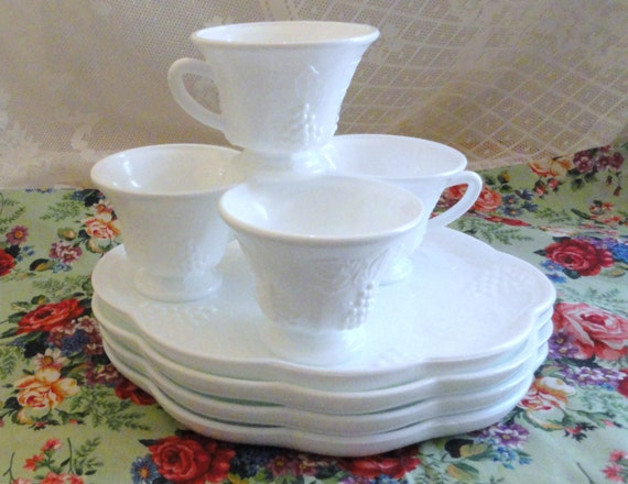 Vintage milk glass snack sets available indiana