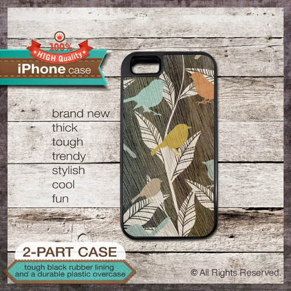 iPhone 6, 6+, 5 5S, 5C, 4 4S, Samsung Galaxy S3, S4 - Wood Effect Floral Bird Art - Design Cover 77
