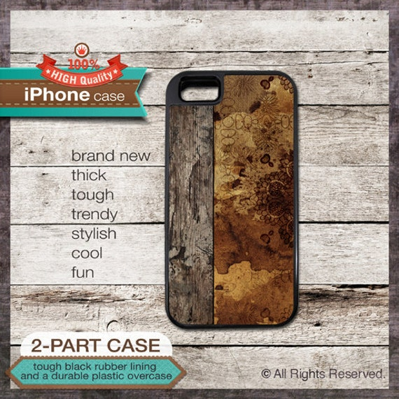 Wood Effect on Flower Design - iPhone 6, 6+, 5 5S, 5C, 4 4S, Samsung Galaxy S3, S4 - Cover 105